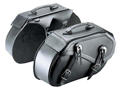 Cruizer BOR-2099 motorfietstassen van leer, universeel, Custom Guzzi Harley Davidson Bisacce, zwart, 42 x 25 x 15 cm