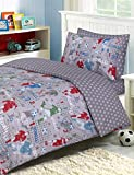 Divine Textiles - 100% Cotton Kids Childrens Bedding Set Reversible Duvet Cover With Pillowcases and Matching Fitted Sheet, Football - Single Complete Set
