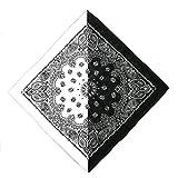 Andouy Bandana (12er Set) Halstücher Set für Frauen, Männer und Kinder Mischfarben Biker Kopftücher kann als Halstuch oder Schweißband(55X55CM.Weiß12)