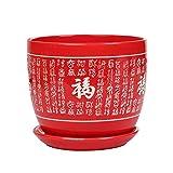Thwarm Suministros de estilo chino rojo grande de cerámica Tiesto Tiesto suculentas...