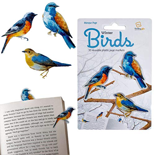 Gifts for Readers & Writers Stikki Marks Bookmarks Novelty Reusable Notepad Book Page Markers - Pack of 30 (Winter Birds)