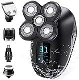 Afeitadora eléctrica para hombre, 5 en 1, con cabezales de natación, cortapelos de nariz, afeitadora facial, afeitadora eléctrica, impermeable, set de cuidado facial