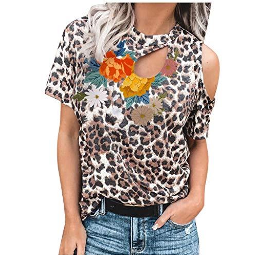 Janly - Camiseta de manga corta para mujer, diseño de leopardo y estampado floral, marrón, small