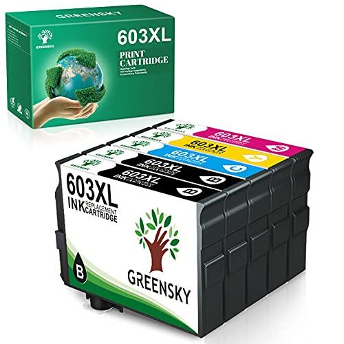 GREENSKY Cartuccia d'inchiostro Compatibile per Epson 603 603XL per Expression Home XP-2100 XP-2105 XP-4105 XP-4100 XP-3105 XP-3100 WorkForce WF-2850DWF WF-2835DWF WF-2830DWF WF-2810DWF