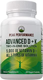 Advanced Vitamin D 5000 IU with All 3 Types of Vitamin K by Peak Performance. Vitamin D3 and Vitamin K2, K1, MK-7 (MK7), M...
