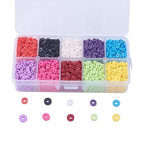 Cheriswelry 4mm Cuentas redondas de arcilla polimérica 3800pcs 10 colores espaciador de disco Cuentas Heishi para collares, pulseras, pendientes Fabricación de joyas de verano