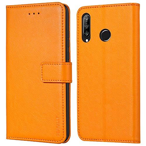 Peakally Handyhülle für Huawei P30 Lite/Huawei P30 Lite New Edition Hülle, Premium Leder Flip Hülle Tasche Schutzhülle Brieftasche Klapphülle [Kartenfächer] [Standfunktion] [Magnet]-Gelb