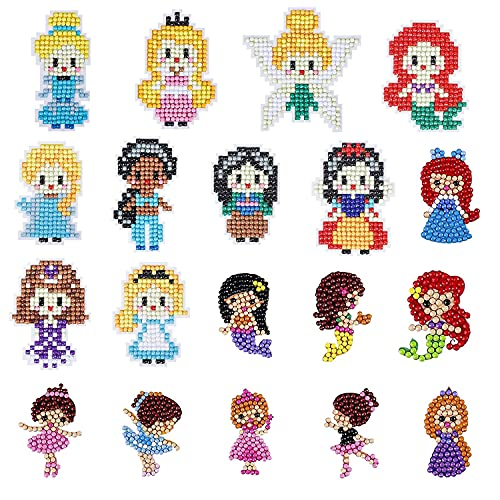 5D Diamond Painting Stickers for Kids, Arts and Crafts for Girl and boy, Princess Diamond Painting by Numbers Art Kits for Beginners Ages 3-8
