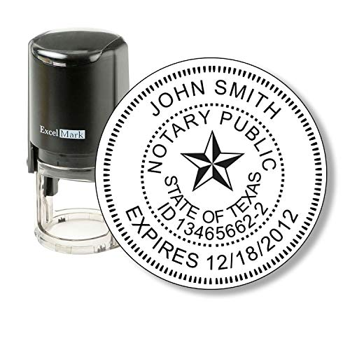ExcelMark A-43 Self-Inking Round Rubber Notary Stamp - State of Texas