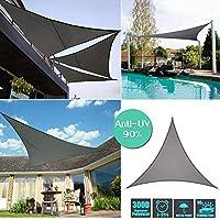 シェード オーニング 紫外線98%カット UVカット シェード セイル つっぱり式 サンシェード スクリーン 撥水 耐久性 庭·テラス·バルコニー用 イチオリシェード 矩形 正三角形,Dark grey,3*3*3m