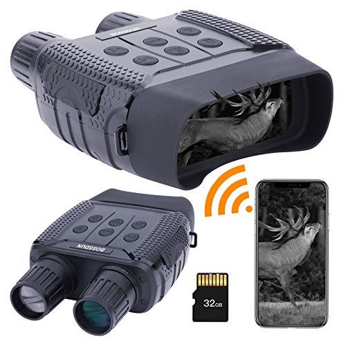 Binocolo WiFi per Visione Notturna Occhiali Binocoli Digitale a Infrarossi per Attrezzatura Spia Completamente Oscura - Schermo Grande e Distanza di Visione di 1000m con Scheda SD da 32 GB per Caccia
