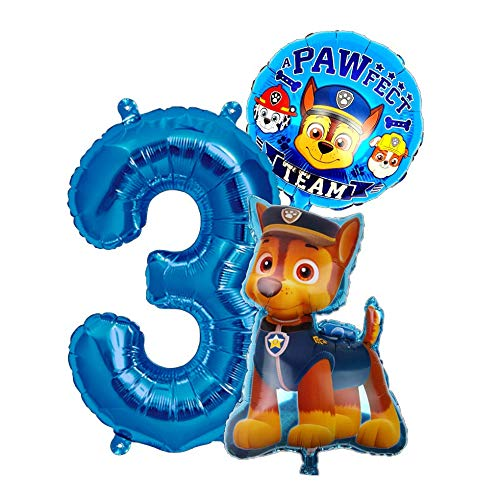 Helden auf Vier Pfoten Geburtstags Set + Riesenzahl 1-8 Folienballon Luftballon Hunde Team 1 2 3 4 5 6 7 8 Zahl Hund Kindergeburtstag Deko Dekoration Mottoparty Party Herz Ballon (Zahl 3)