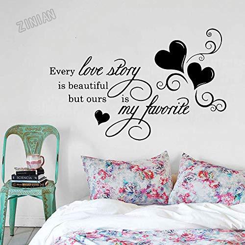 XCSJX Pegatinas Pared de la cotización románticas Cada Historia de Amor es la Pared Pegatinas decoración Dormitorio de Vinilo removible Papel Pintado habitación de Matrimonio 39x62cm Arte