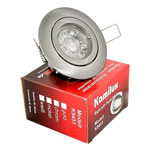 1 x Power LED Einbaustrahler Bajo 12V 5Watt in edelstahl-gebürstet Lichtfarbe in warmweiss