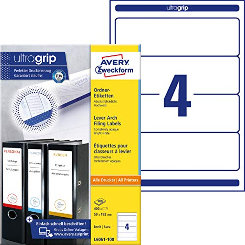 AVERY Zweckform L6061-100 Ordnerrücken Etiketten (mit ultragrip, 59 x 192 mm auf DIN A4, breit/kurz, selbstklebend, blickdicht, bedruckbare Ordneretiketten, 400 Rückenschilder auf 100 Blatt) weiß