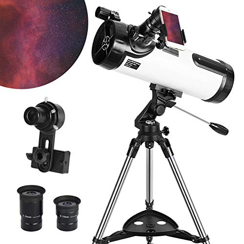 Telescope 114AZ Newtonian Reflector Telescope for Astronomy Adults, Great Astronomy Gift for Kids Adults, Comes with Cellphone Adapter & 1.25 Inch 13% T Moon Filter
