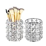 Feyarl 2pcs Crystal Beads Makeup Brush Holder Silver Bling Handcrafted Comb Brush Pen Pencil Holder Pot Cup Storage Cosmetic Tools Organizer Container Candle Holder