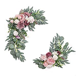 Ling's moment Artificial Flower Swag for Dusty Rose and Cream Wedding Ceremony Sign Floral Decoration – Pack of 2