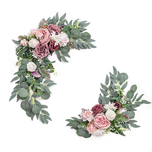 Ling's moment Artificial Flower Swag for Dusty Rose and Cream Wedding Ceremony Sign Floral Decoration - Pack of 2