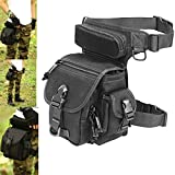 LarKoo Outdoor Gear Military Tactical Drop Leg Panel Utility Pouch Thigh Leg Waist Bag Pack Motorcycle Outdoor Bike Cycling Riding Thermite Versipack Satchel for 7.9 inches Tablet PC (Black 1000D)
