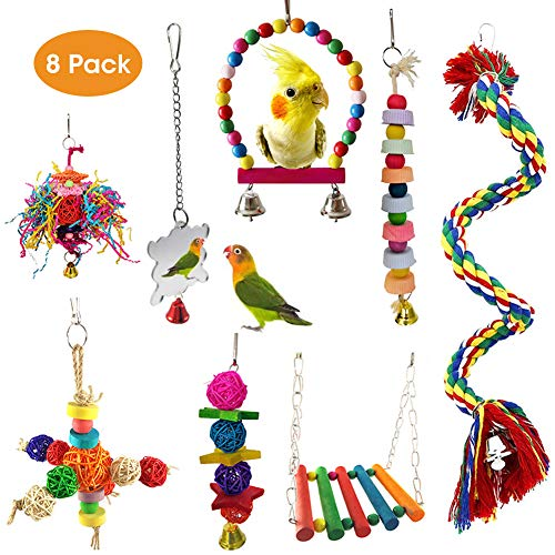 MQ 8 Pack Bird Parrot Toys Birds Swing Chewing Toys Hanging Bell Bird Cage Toys Suitable for Small Parakeets, Cockatiels, Conures, Macaws, Parrots, Love Birds, Mynah, Finches ect