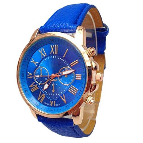 Tefamore Orologio analogico al quarzo con cinturino in similpelle, da donna, con indici eleganti, Blue