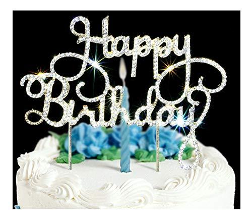 Happy Birthday Cake Topper Premium Bling Rhinestone Diamond Gems Birthday or Anniversary Party Decoration Ideas