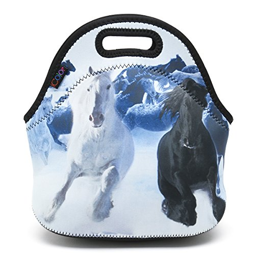 ICOLOR Running Horse Boys Insulated Neoprene Lunch Bag Tote Handbag lunchbox Food Container Gourmet Tote Cooler warm Pouch For School work Office