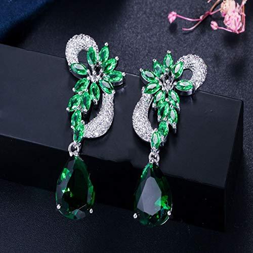 YIJTE Arete Diseño de Color Plata de Lujo Cubic Zirconia Piedras de caída Largo Royal Blue Pendientes para Mujeres Lujo (Metal Color : Green)
