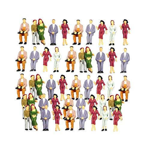 T TOOYFUL 100 Stück Menschen Figuren Miniatur Menschen Figuren Gemalt Modell Figuren 1: 75-1: 200 - 1: 200