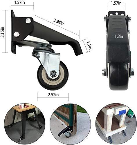 51 mBw qGPL - 4 ruedas para banco de trabajo, ruedas giratorias con freno, 300 kg, chapa de acero, ruedas para muebles, resistentes, retráctiles