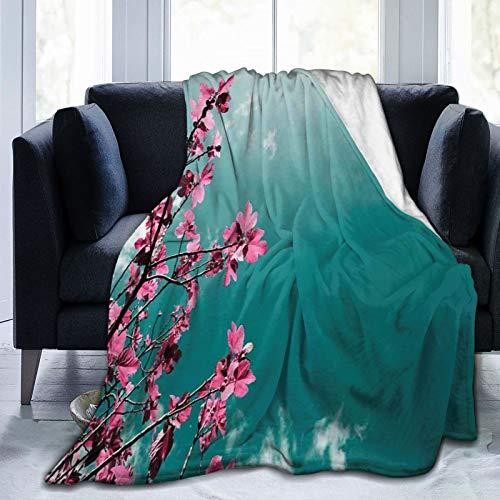 Manta mullida, con flores de higuera con cielo soleado exótico, verano, primavera, con vistas panorámicas a la naturaleza, ultra suave, manta para bebé, cama, cama, TV, manta de 152,4 x 127 cm