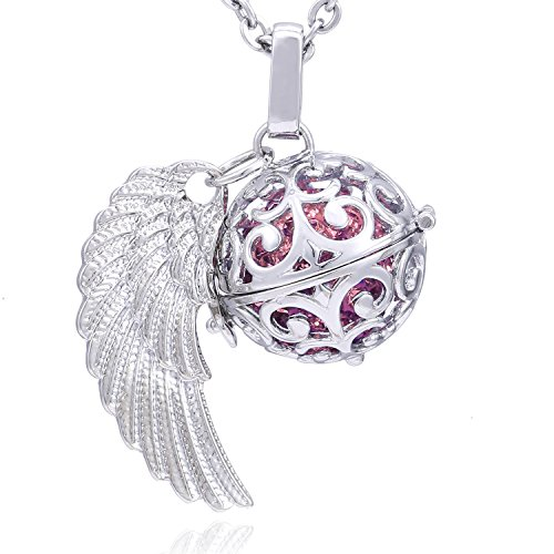 Morella® Damen Halskette Edelstahl 70 cm mit Anhänger Engelsflügel und Klangkugel rosa Ø 16 mm in Schmuckbeutel