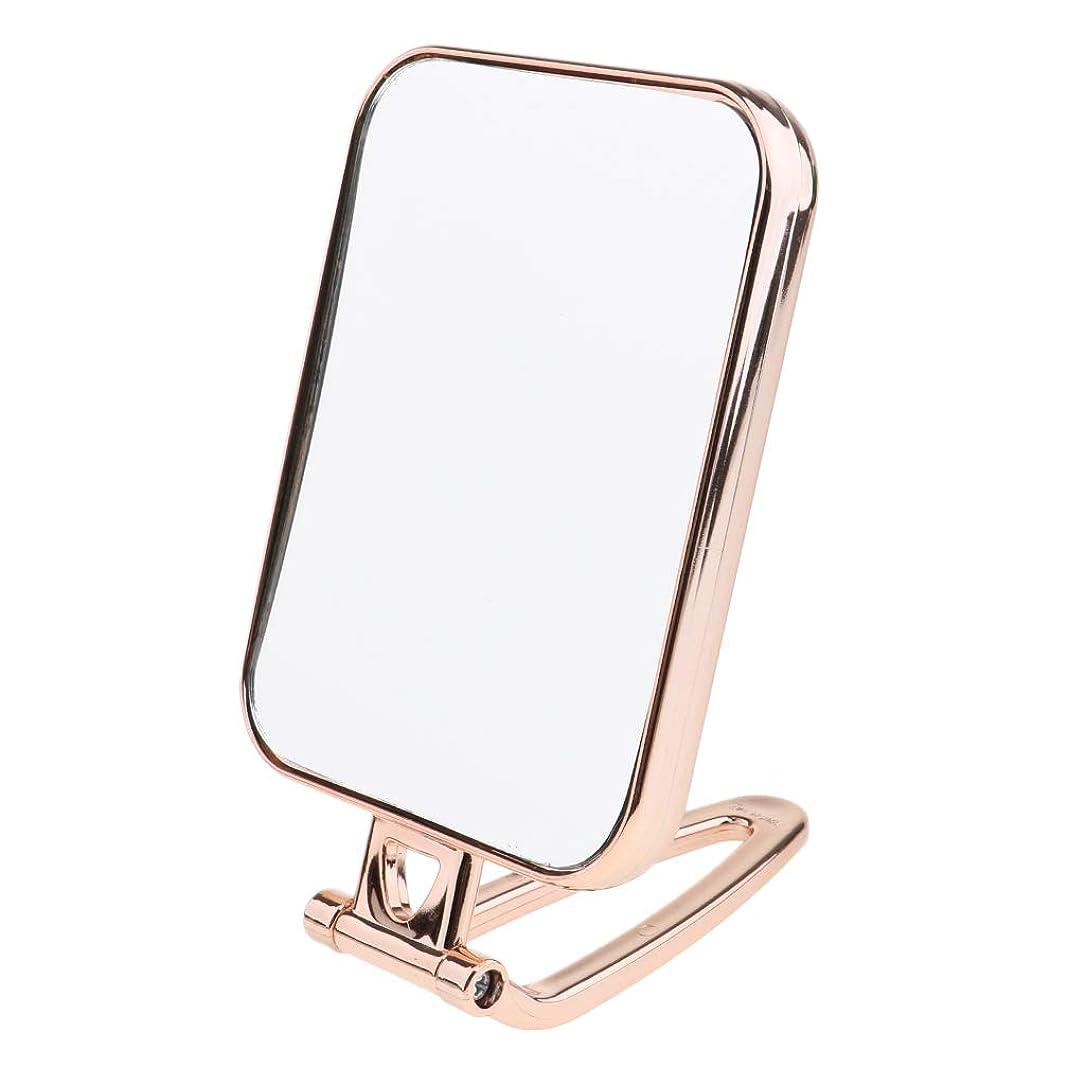 懇願するターゲット鍔B Blesiya 全3色 スクエア 両面鏡 両面ミラー テーブルミラー 化粧鏡 卓上化粧用品 - ゴールド