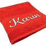 Handtuch mit Namen oder Wunschtext Bestickt, personalisiertes Duschtuch, individuelles Badetuch, 100% Baumwolle, 100 x 50 cm rot
