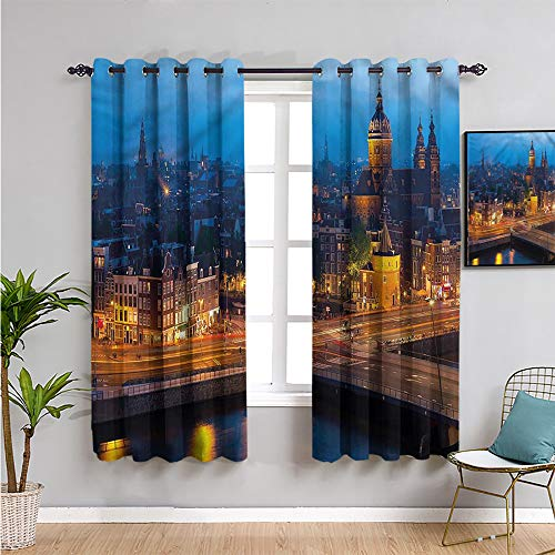 Pcglvie city Insulating Room Darkening Blackout, Curtains 39 inch length amsterdam famous travel Soundproof Shade W54 x L39 Inch