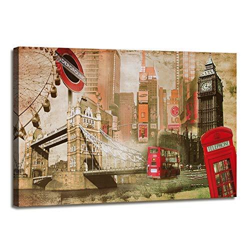 nobrand HD gedruckte Wandkunst Leinwand Bilder London Big Ben Red Bus Gebäude Stadt Landschaft Poster Moderne Wohnkultur Gemälde 70x120cm (27,6x47,2 Zoll) Kein Rahmen