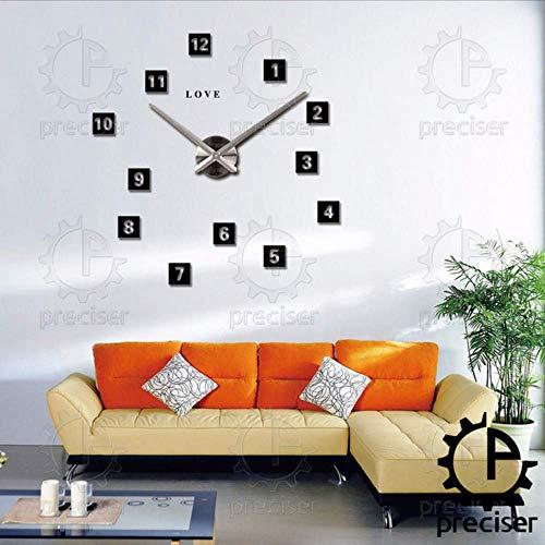 Djkaa liefdesletters, vierkant, 3D, knutselen, grote grote Arabische wandklok, groot design, modern design, kwarts, zwart, wandklok (47 inch)