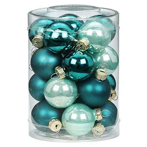 MAGIC 20 Christbaumkugeln Glas 3 cm Christbaumschmuck Weihnachtskugeln Baumkugeln Baumschmuck Weihnachtsdeko Farbe: Green Emerald (Mint dunkel türkis meerblau)