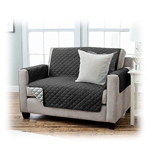 JEMIDI Sesselschoner Schonbezug Sesselschutz Schutzbezug in toller Qualität Sessel Schoner Sofabezug Sofaschonbezug Sofa Überwurf Sofa Varianten / 2 Sitzer Schwarz/Anthrazit