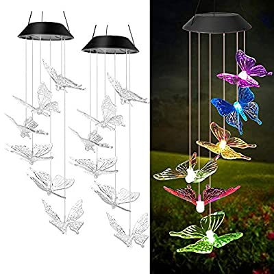 Solhice 2 Pack Solar Wind Chimes Butterfly Color Changing, Solar Powered Hanging Lights Outdoor, Waterproof Decorative Garden Lights for Decor Home Garden Patio Yard