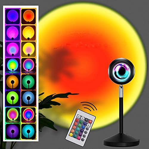 Sunset Lamp ,Sunset Projection Lamp Ruotabile di 360°con 16 colori,Proiezione Arcobaleno con Romantica Dell'Atmosfera per Fotografia/Camera da Letto/Caffetteria