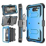 Njjex Galaxy J7 Sky Pro Case,for J7 V/ J7 Perx / J7 Prime Case, [Nbeck] Heavy Duty Built-in Screen Protector Rugged Holster Locking Belt Swivel Clip Phone Cover & Kickstand for Samsung J7 2017 [Blue]