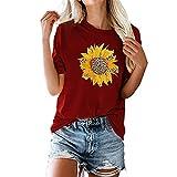 Camiseta de Mujer Tops de Camiseta de Verano de Manga Corta con Cuello en V Camisetas básicas Casual de algodón con Cuello Redondo Corta con Estampado de Girasol Top Informal de Moda Camisa Suelta