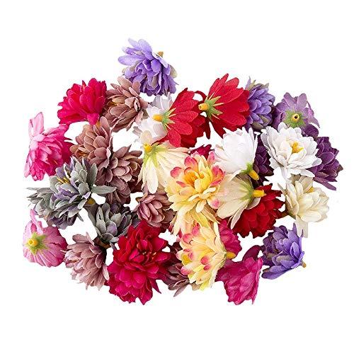 Ideen mit Herz Deko-Blüten, Kunstblumen, Blüten-Köpfe, Verschiedene Sorten, ca. Ø 3 cm (Chrysanthemen - bunt - 14g)