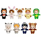 VogueMing 20cm/8''Kpop EXO Plush Doll Baekhyun Chanyeol Sehun Kai Xiumin Lay Suho D.O.Chen with Animal Outfit Clothes【Limited Gift】 (Lay)