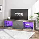 "Bestier 70""Modern TV Stand 20 Color RGB Light Entertainment Center, Media Console 6 Storage Glass..."