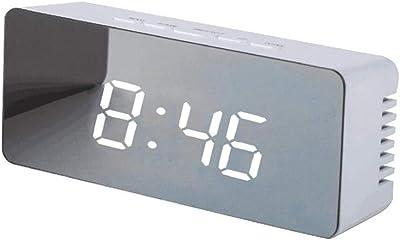 SparY Reloj Despertador Digital LED portátil con Pantalla de Espejo Transparente con función de repetición y