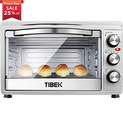 Toaster Oven 6 Slice Oven Toaster SpeedBaking, for Toast/Bake/Broil Function with 4 Heating Elements Intuitive Easy-Reach Toaster Oven Broiler Stainless Steel Toaster Oven,Silver/Black
