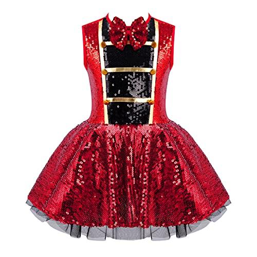 MSemis Disfraz de Domador de Circo para Nia Vestido Lentejuelas de Danza Ballet Vestido Princesa Sin Manga de Fiesta Navidad Hallowenn Rojo 7-8 aos